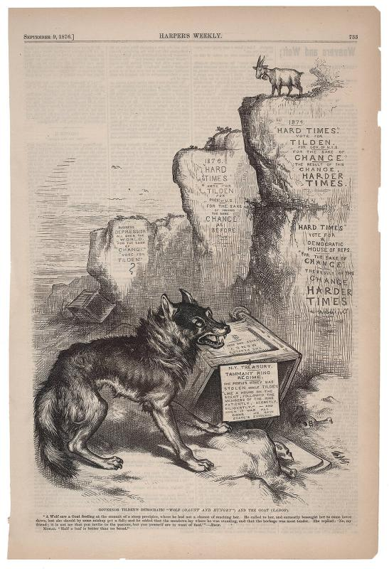 "Governor Tilden's Democratic ""Wolf (Gaunt and Hungry"") and the Goat (Labor)."