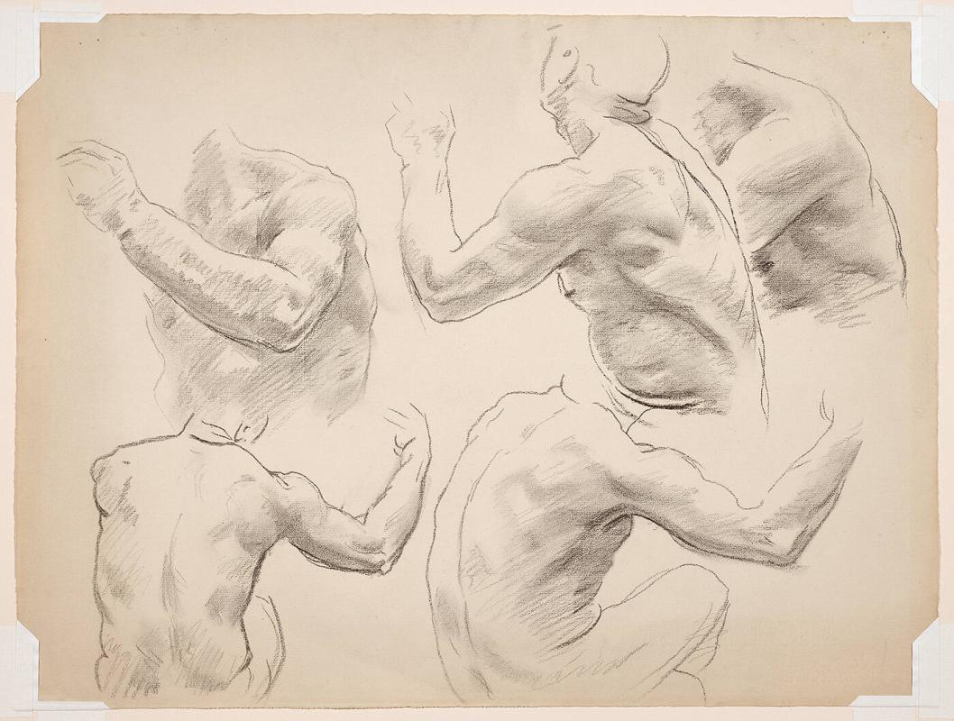 Studies of Male Nudes (most likely for the Boston Public Library Murals)
