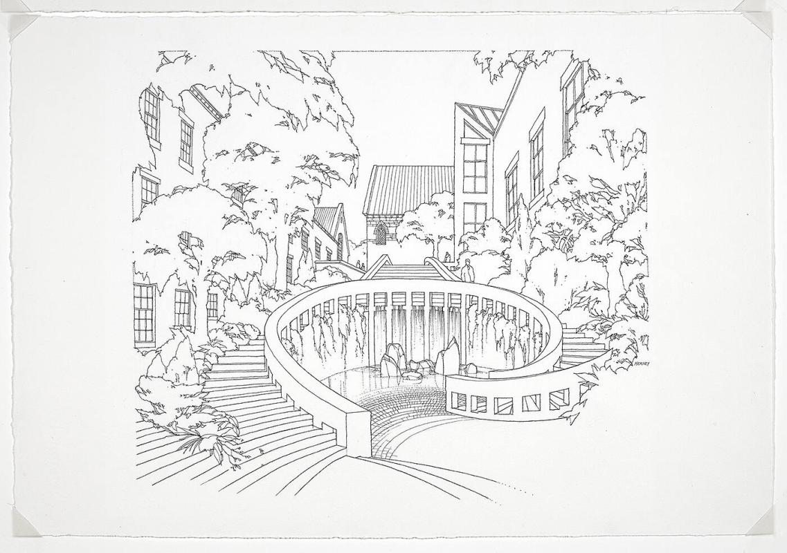 Early Project Perspective, Staircase and Fountain for Charles Moore's Williams College Art Building Project