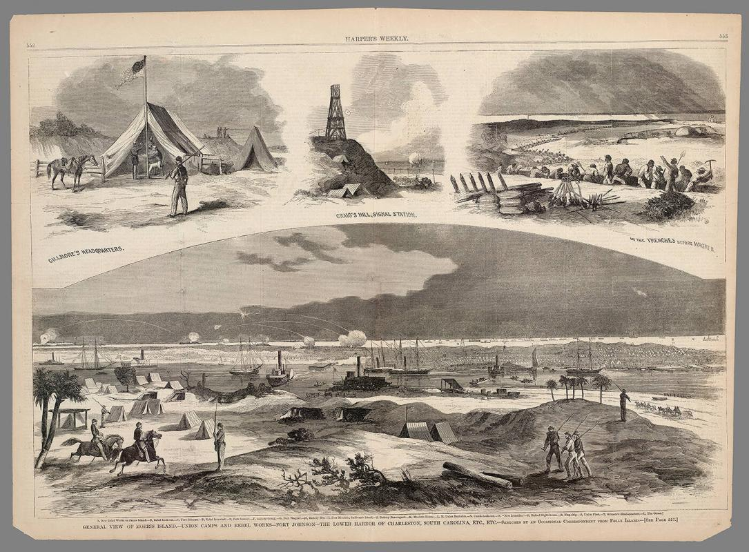 General View of Morris Island.--Union Camps and Rebel Works--Fort Johnson--The Lower Harbor of Charleston, South Carolina, Etc., Etc.