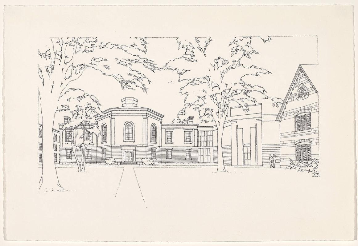 Early Project, North View of Charles Moore's Williams College Art Building Project