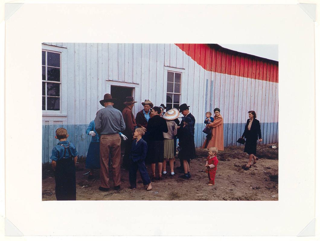 Group of homesteaders in front of the bean house which was used for an exhibit hall at the Pie Town, New Mexico Fair