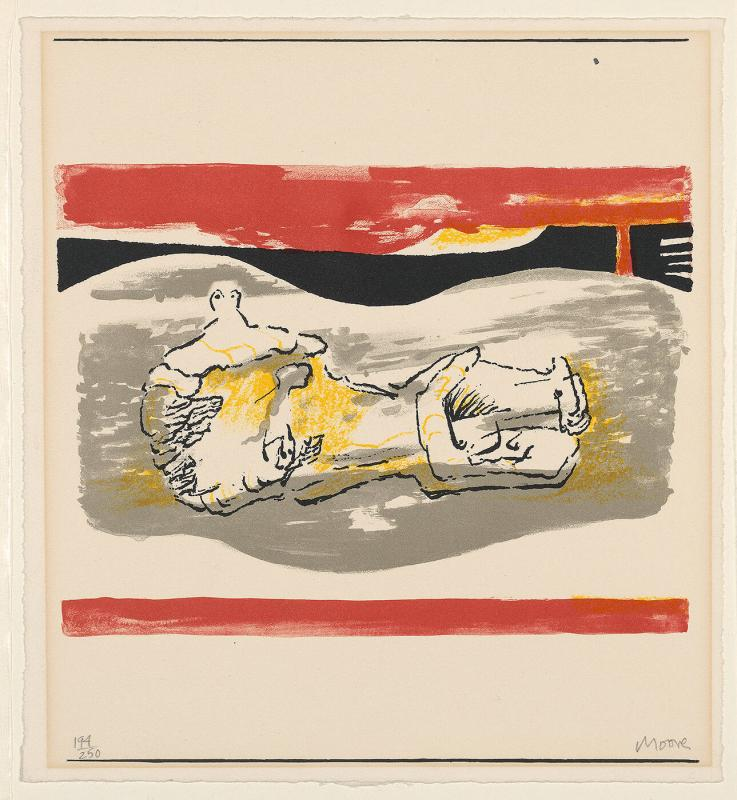 Reclining Figure with Red Stripes