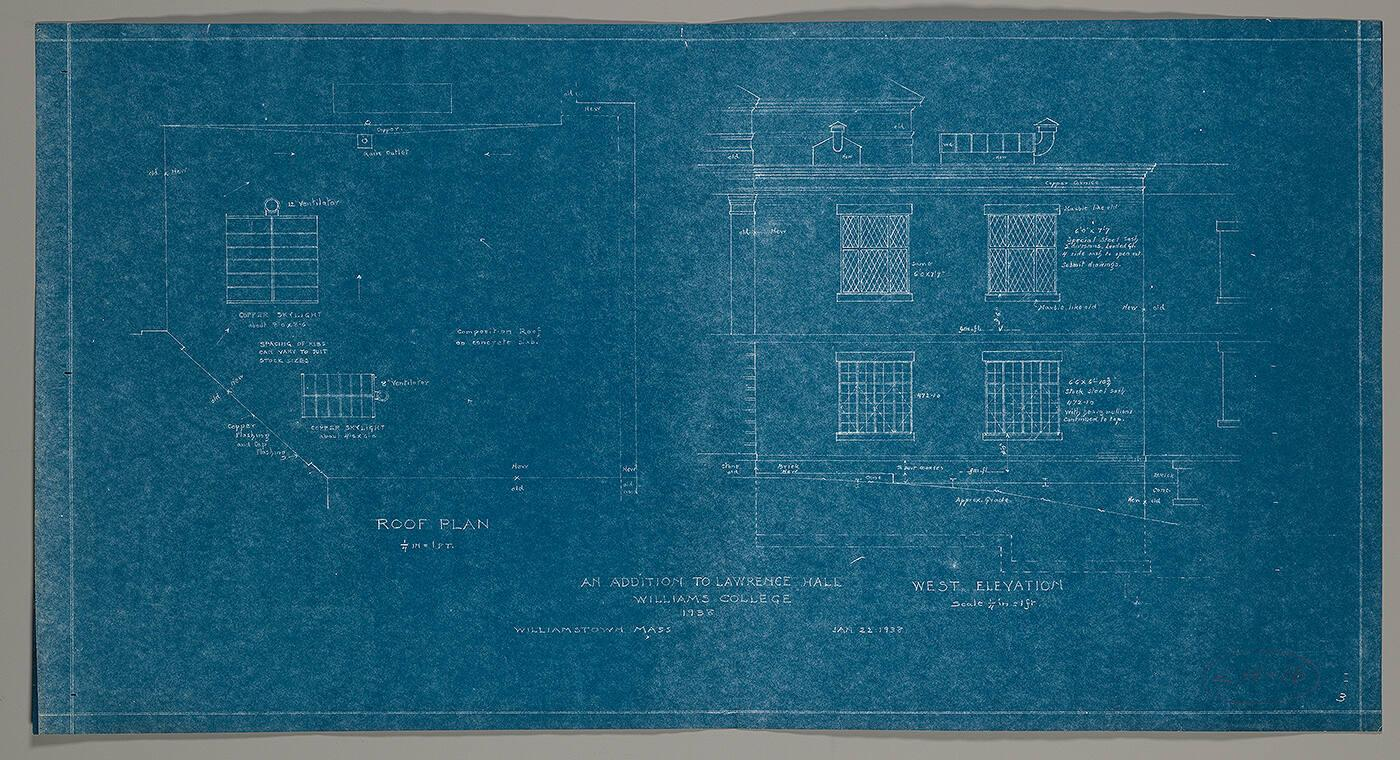 An Addition to Lawrence Hall, Williams College: Roof Plan and West Elevation: LH-16