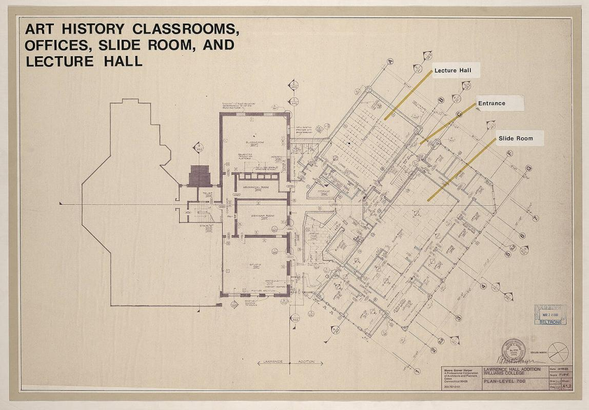 Art History Classrooms, Offices, Slide Room & Lecture Hall, Lawrence Hall Addition Plan Level 700
