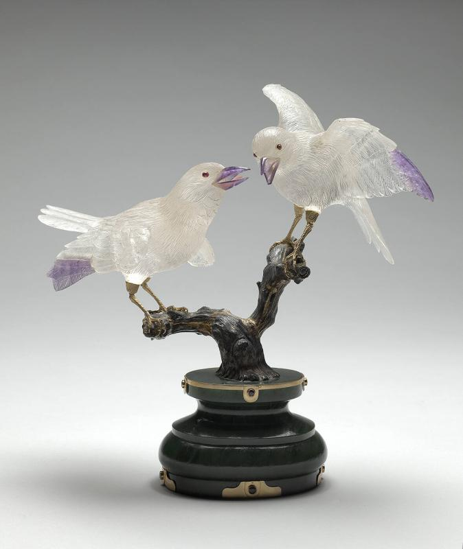 Pair of Rock Crystal Birds