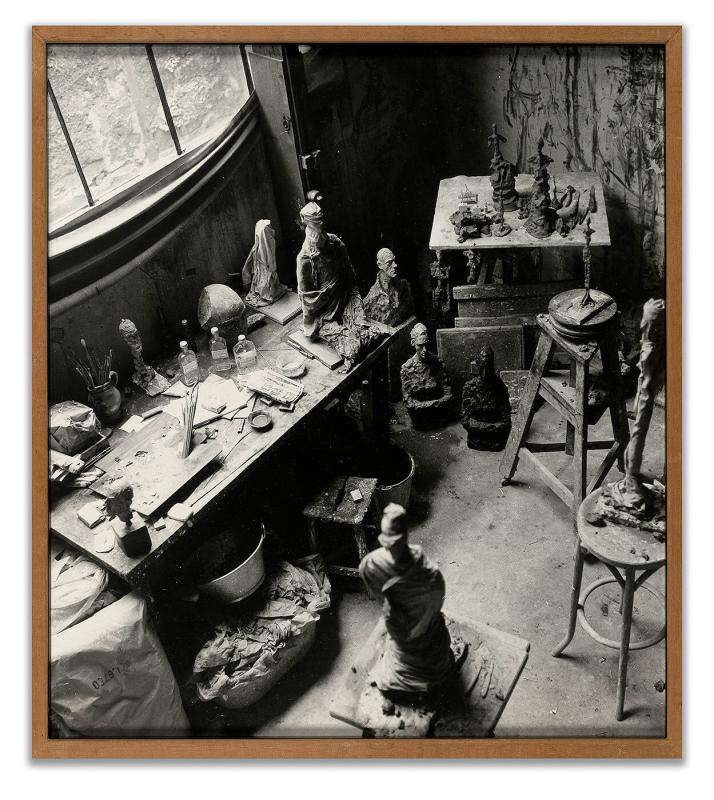 Alberto Giacometti's studio in Paris [interior with workbenches]