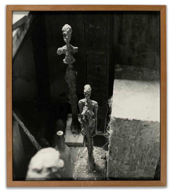 Alberto Giacometti's studio in Paris [interior with two sculptures]