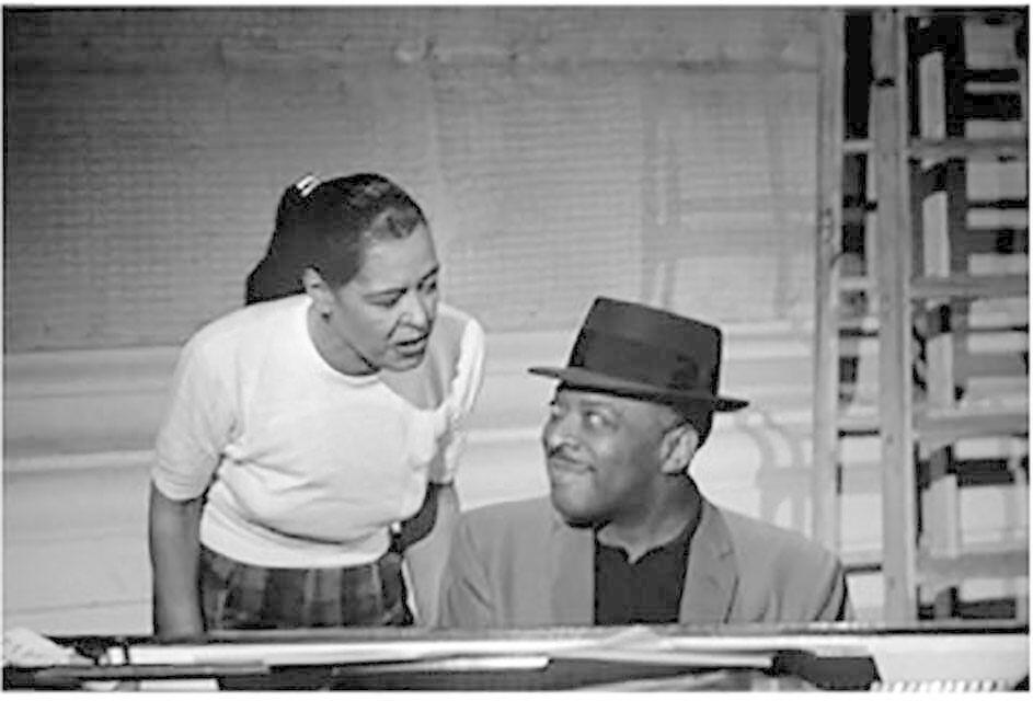 Billie Holiday and Count Basie, television studio (Sound of Jazz rehearsal), New York City
