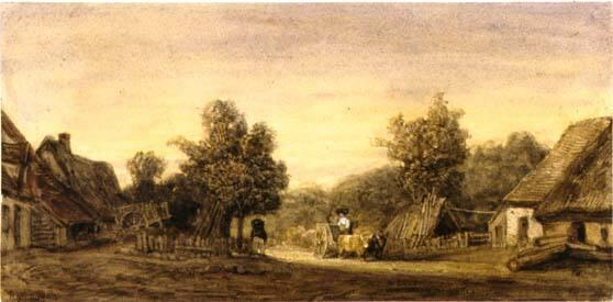 Farm scene with an ox cart