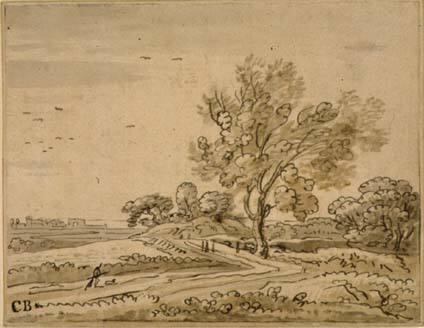 Landscape with a prominent tree