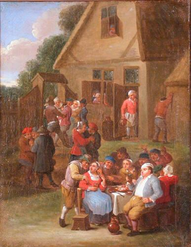 Exterior of an Inn with Peasants at a Table