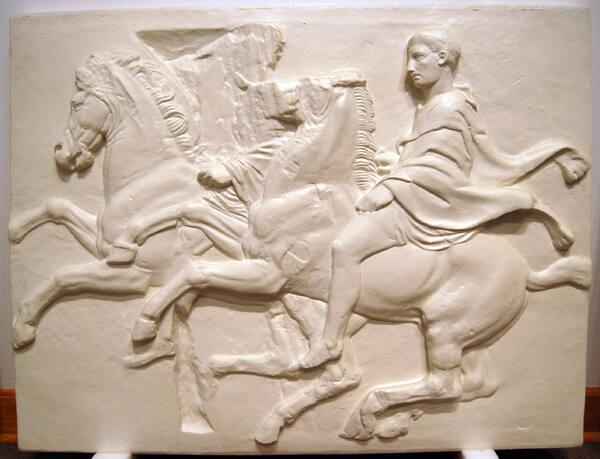 Cast of West Frieze VII with figures on horseback from the Elgin Marble Series, the Parthenon, Athens, Greece