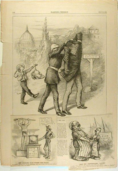 Harper's Weekly p.508 of July 23, 1881 with two small cartoons attached