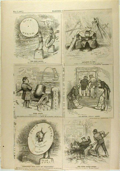 Harper's Weekly page with five cartoons