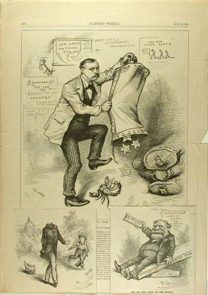 Harper's Weekly p.400 with two cartoons attached