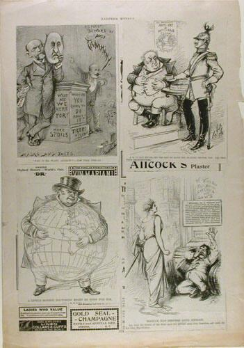 Harper's Weekly Page with cartoons attached