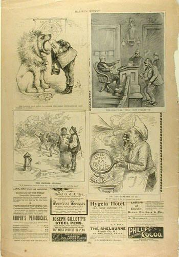 Harper's Weekly Page with three cartoons attached